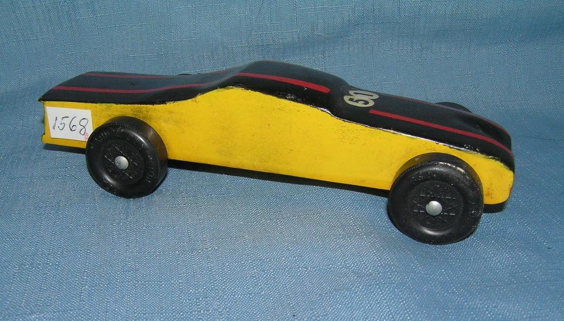 Modern wooden folk art race car