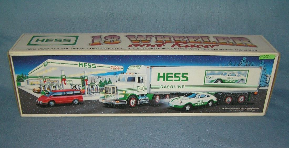 Vintage HESS 18 wheeler tractor trailer with race car