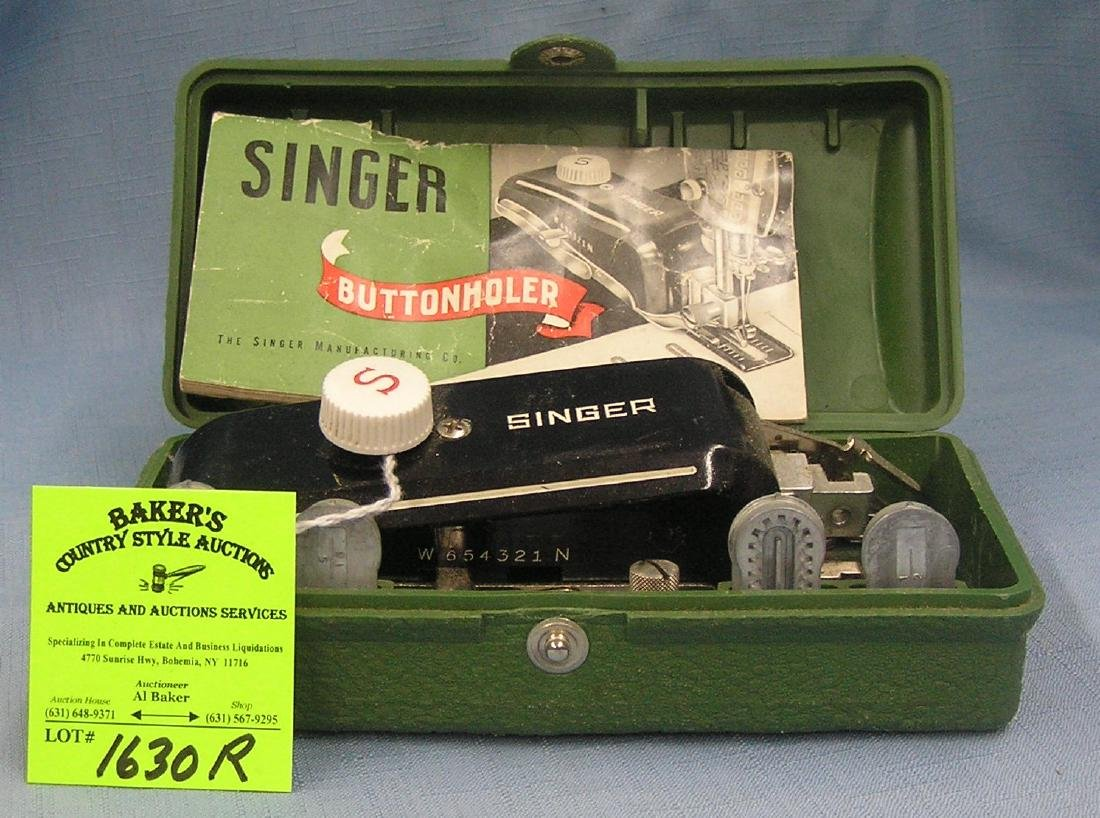 Vintage Singer button holer in original case