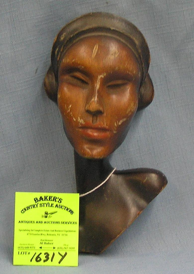 Vintage hand carved female wall hanging figure