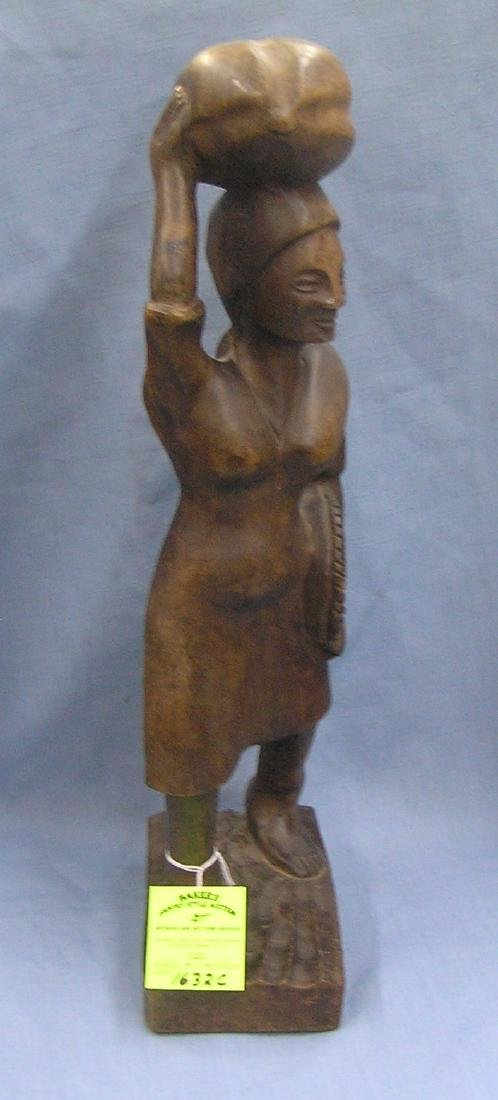 Large hand carved African woman figure
