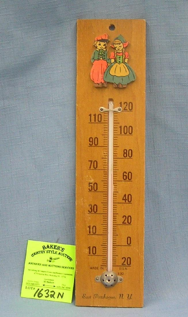 Early Dutch themed wooden wall thermometer