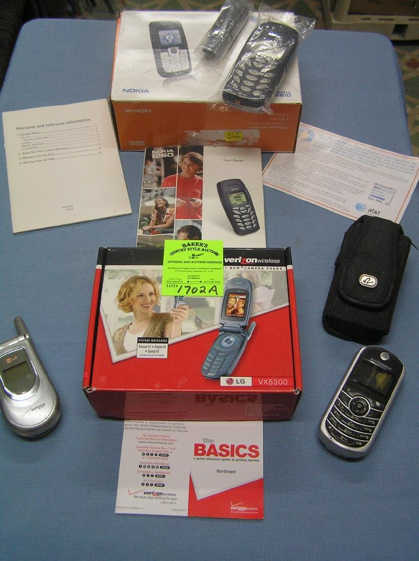 Group of modern cell phones and accessories