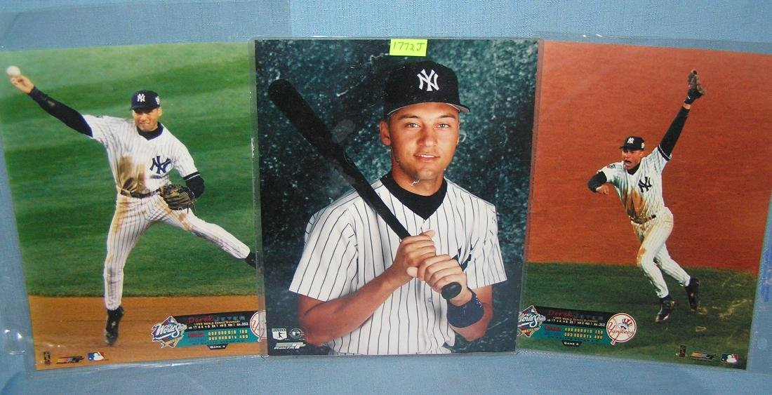 Group of 3 vintage 8X10 Derek Jeter color photos