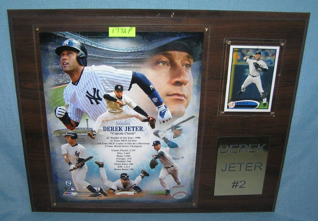 Vintage Derek Jeter photo and baseball card wall plaque