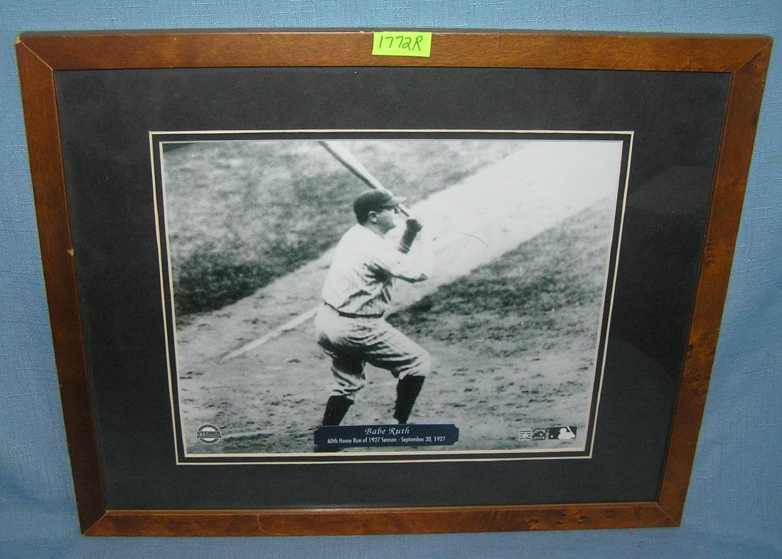 Babe Ruth matted and framed photo