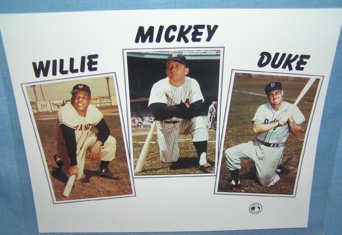 Mickey Mantle, Willie Mays & Duke Schneider photo
