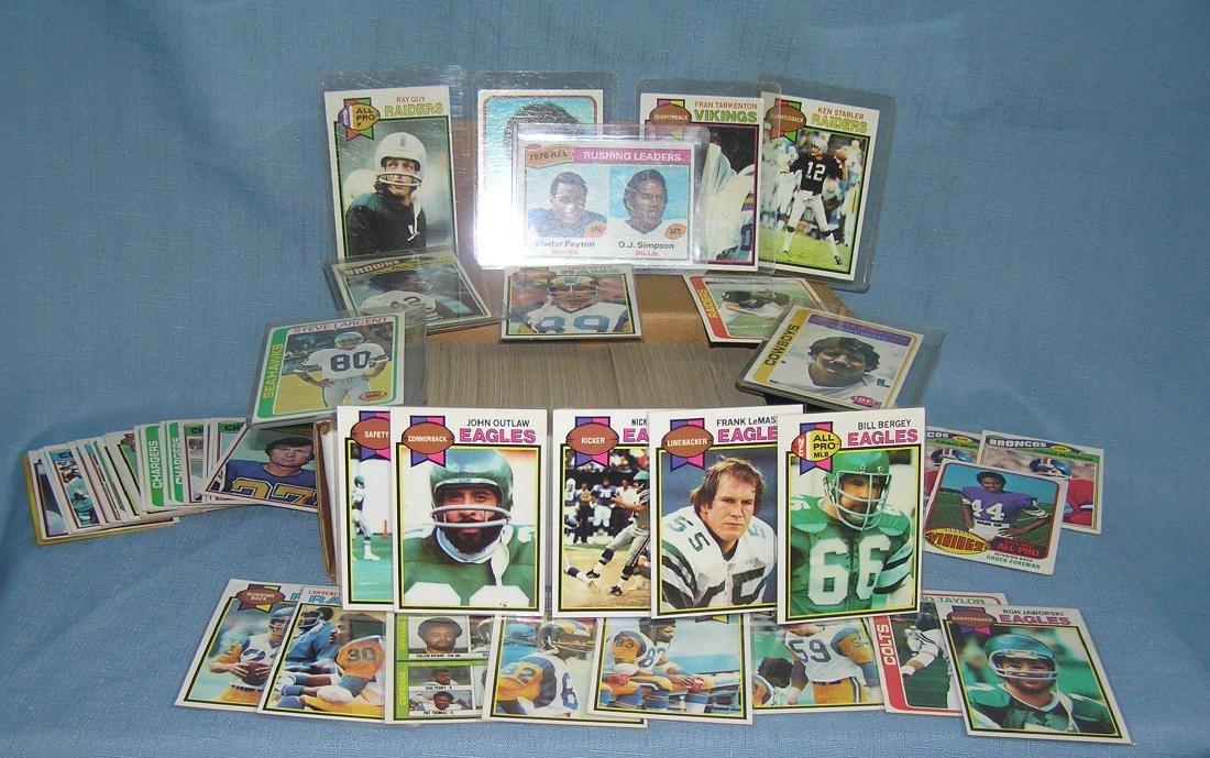Box full of vintage football cards