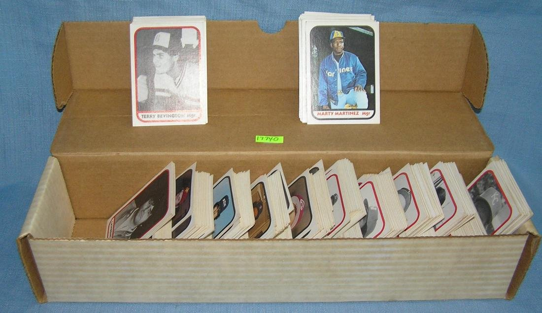 Box full of 1981 minor league rookie baseball cards