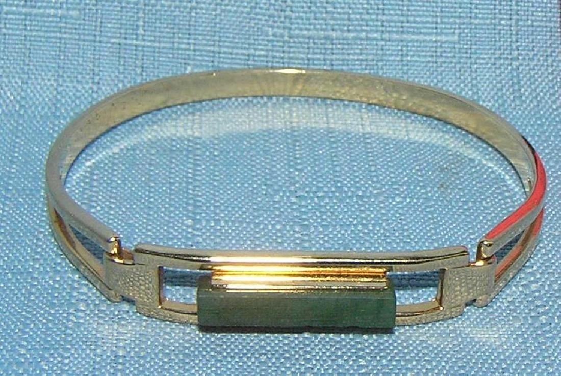 Green jadite and gold tone bracelet