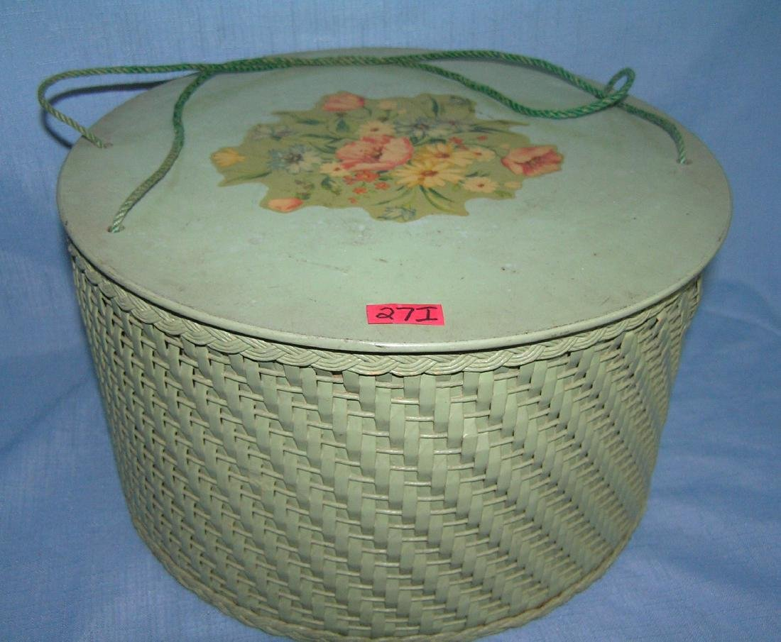 Antique floral decorated sewing basket