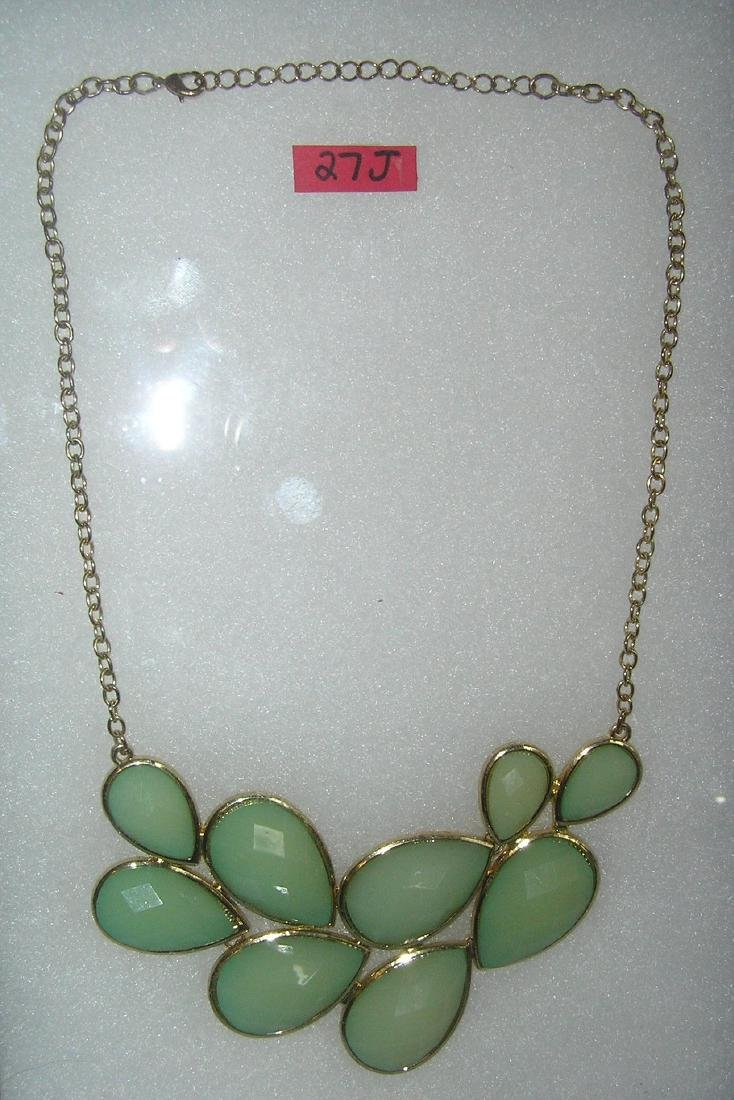Quality costume jewelry necklace with green fluorite