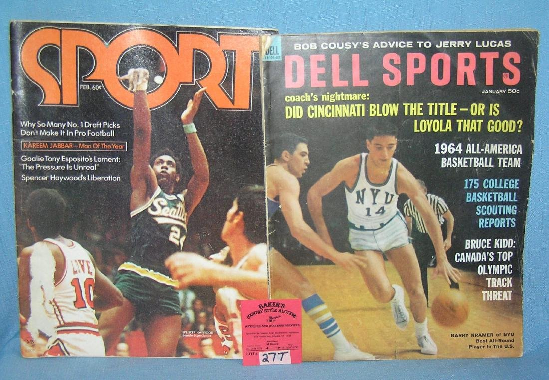 Pair of vintage basketball themed sports magazines