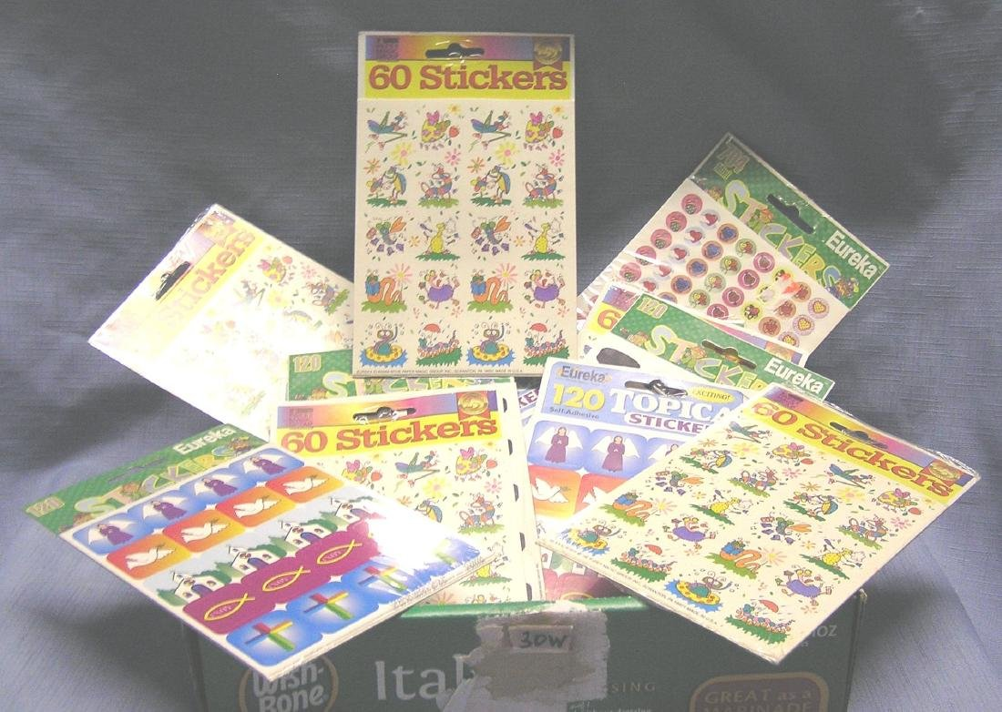 Box full of collectible sticker packages