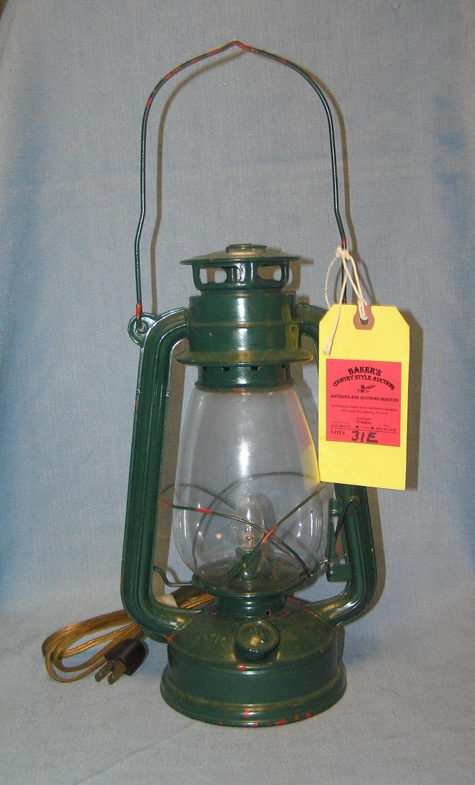 Electrified painted kerosene style lantern