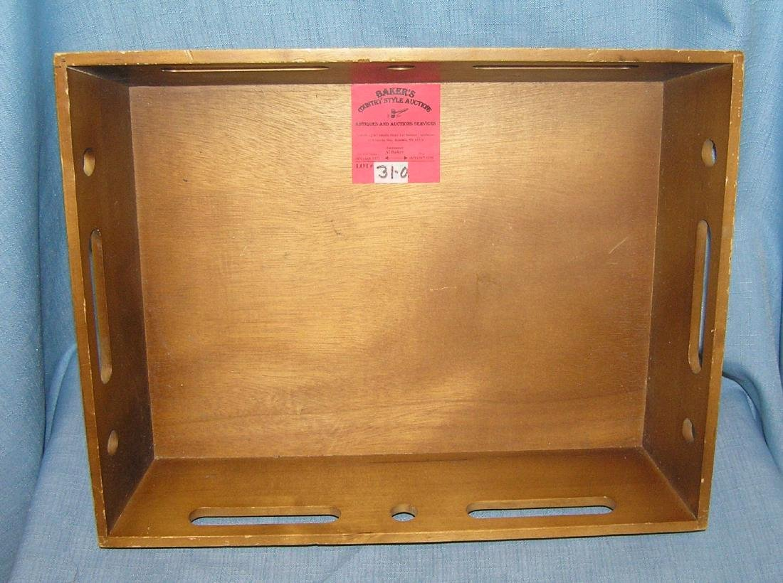 Wood decorative serving tray/silverware tote