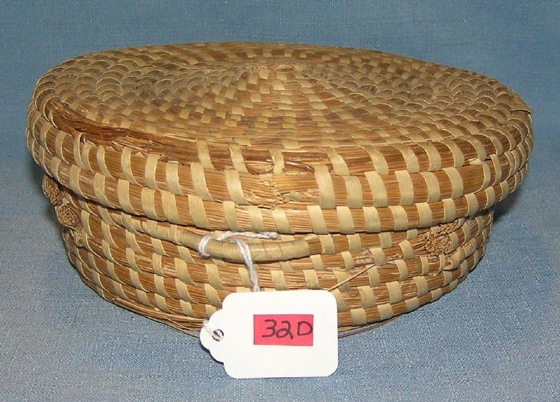 Vintage all hand woven covered basket