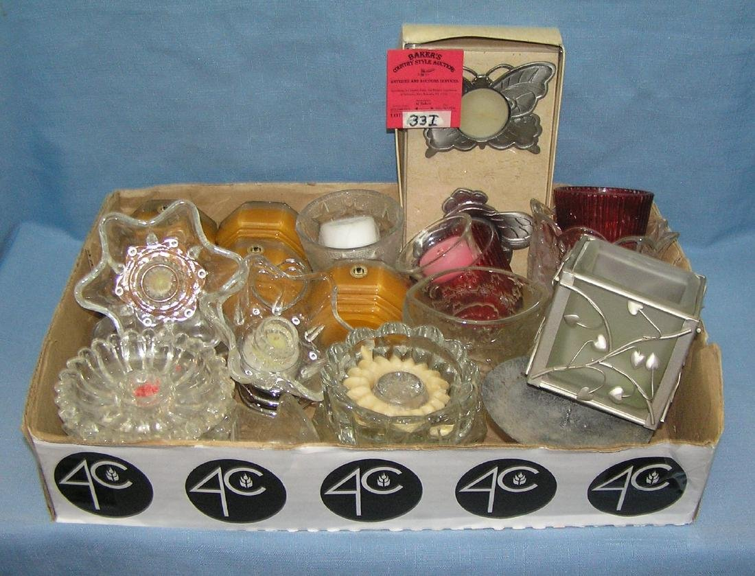 Large box full of crystal and candle holders and more