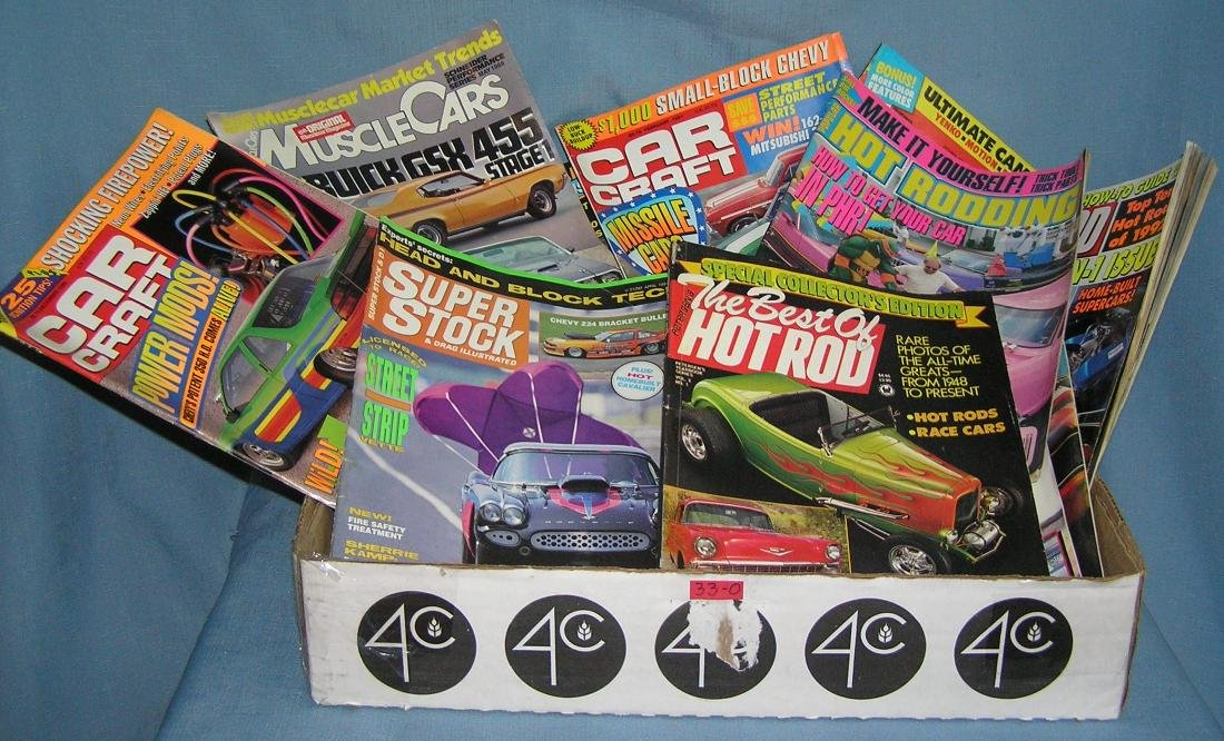 Box full of Muscle and Hot Rod magazines