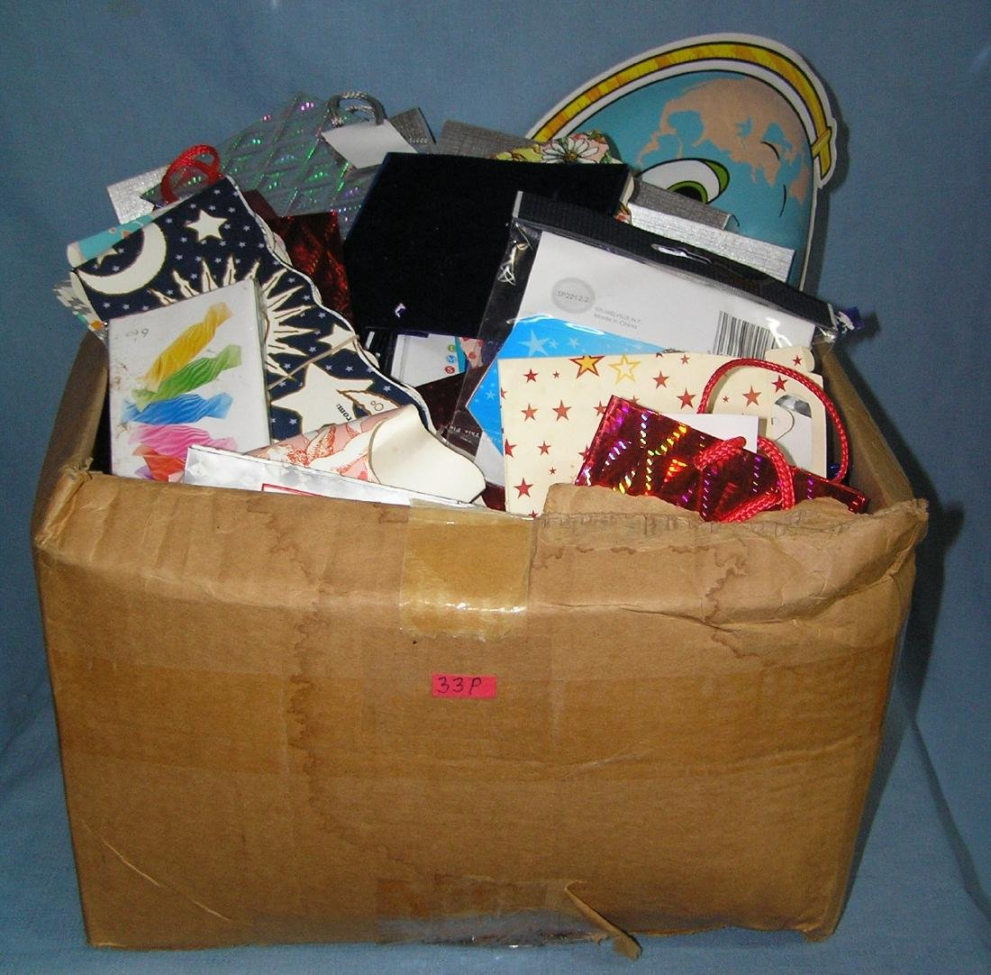 Large box full of party supplies, decorations and gift