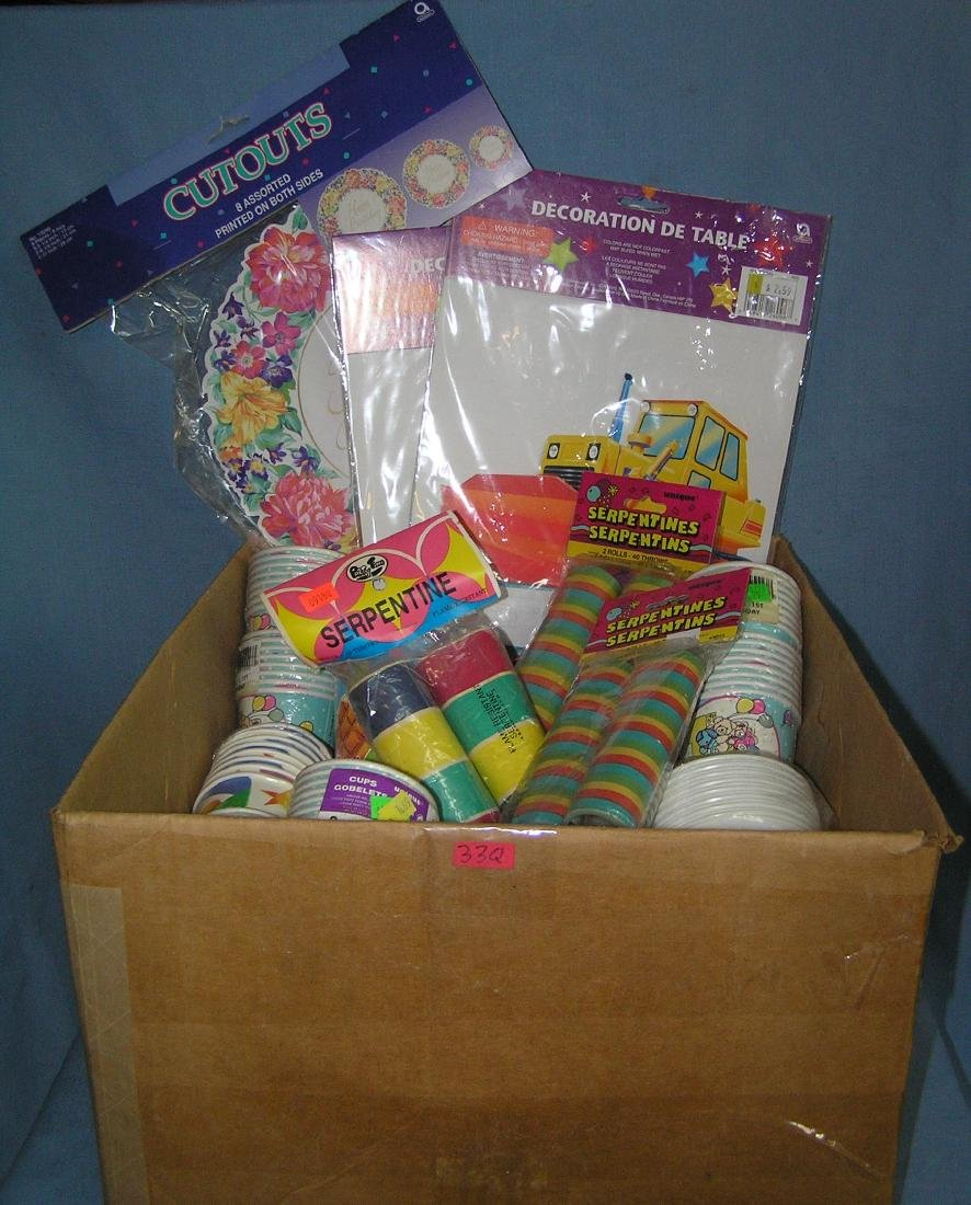 Large box full of party supplies and gift items