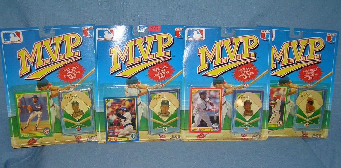 Group of MVP all star sports cards and pinback buttons