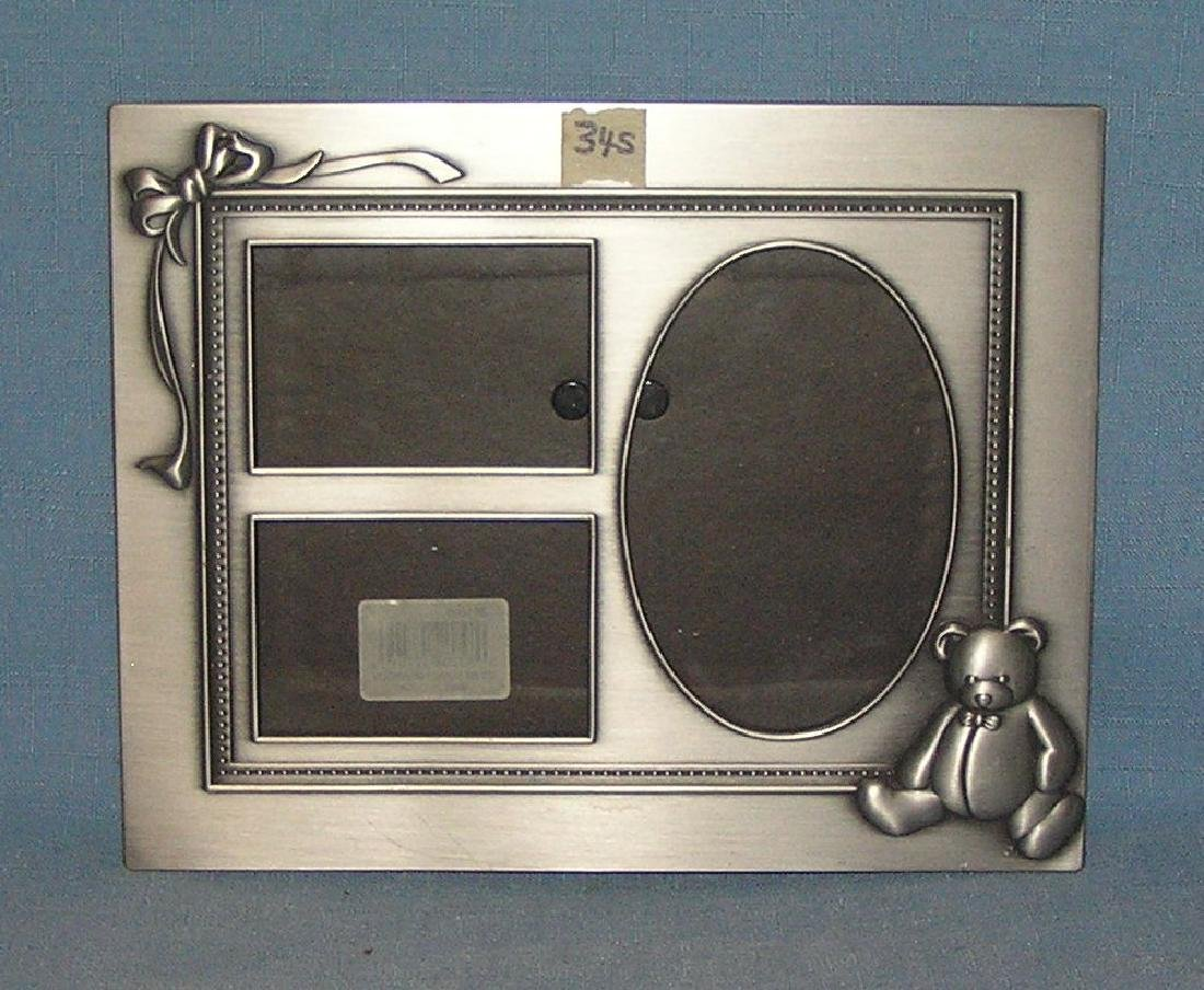 Decorative pewter 3 panel picture frame