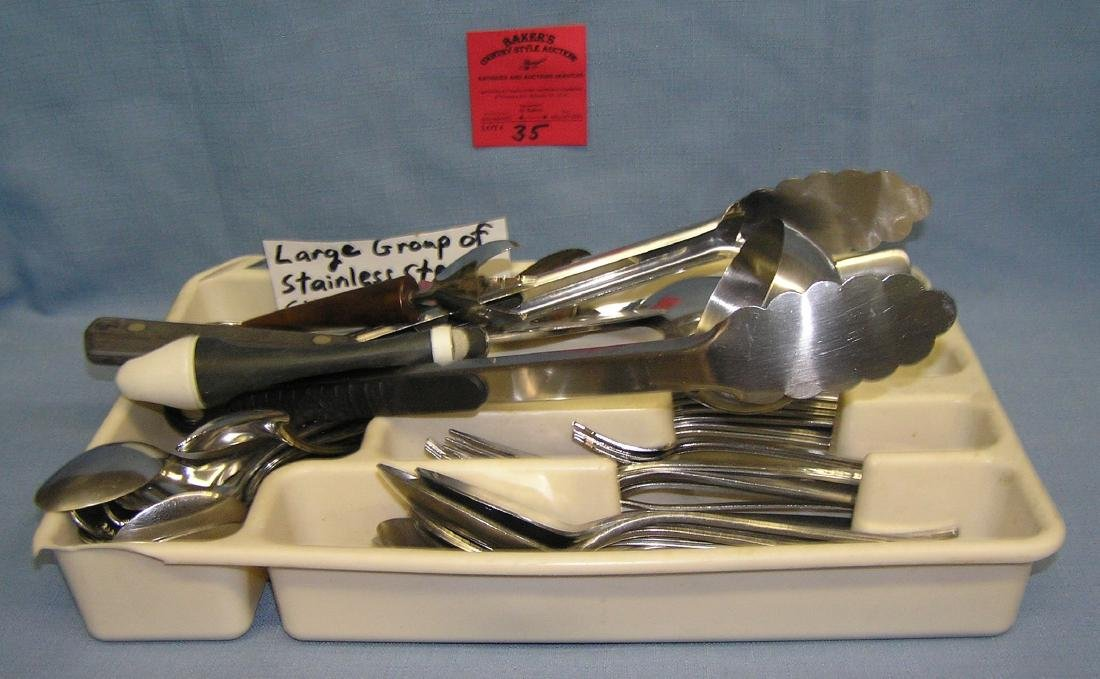 Tray full of estate silverware and serving pieces