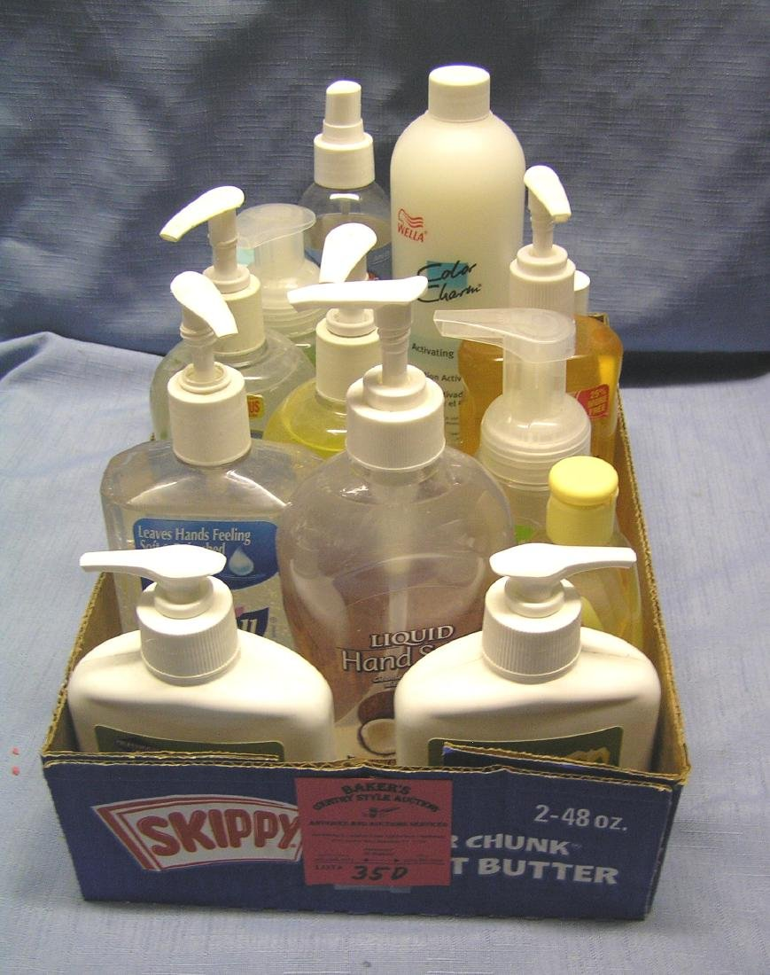 Box full of hand soap, sanitizers and more