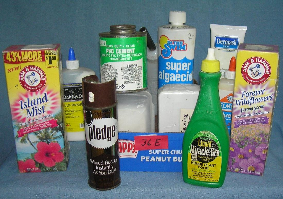 Box full of home care cleaning and household products
