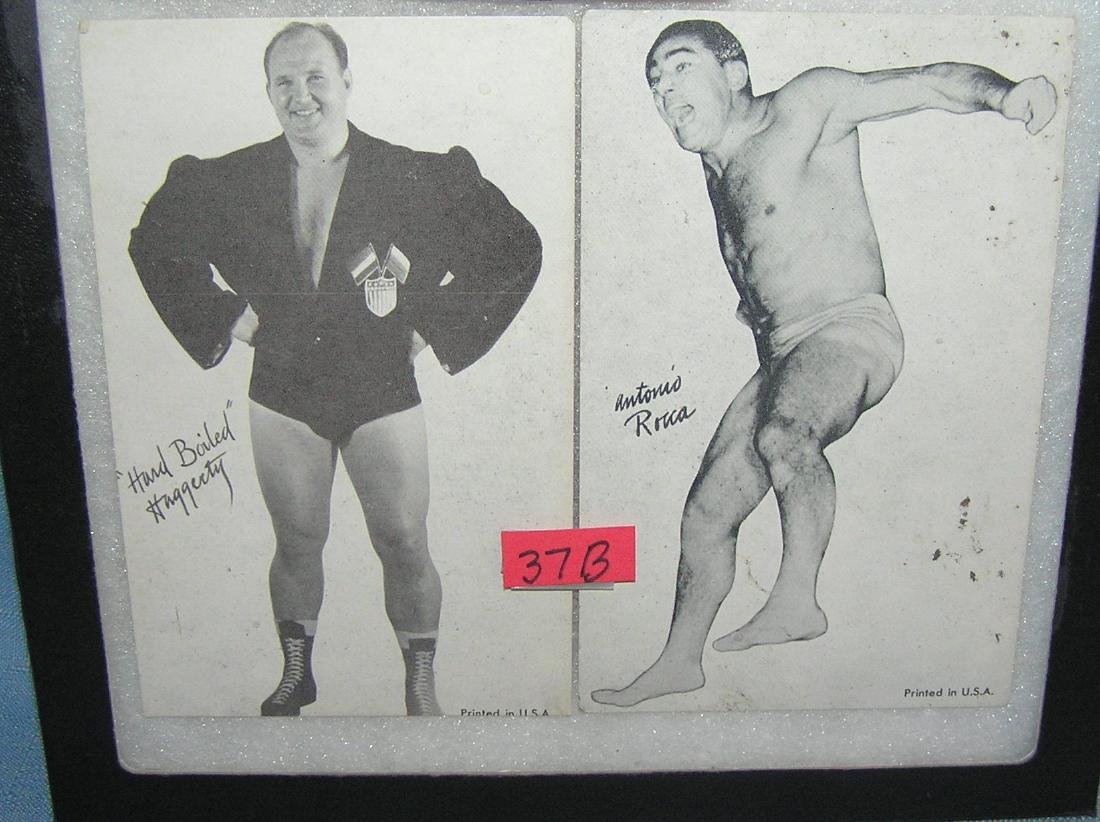 Pair of early wrestlers exhibit penny arcade photo