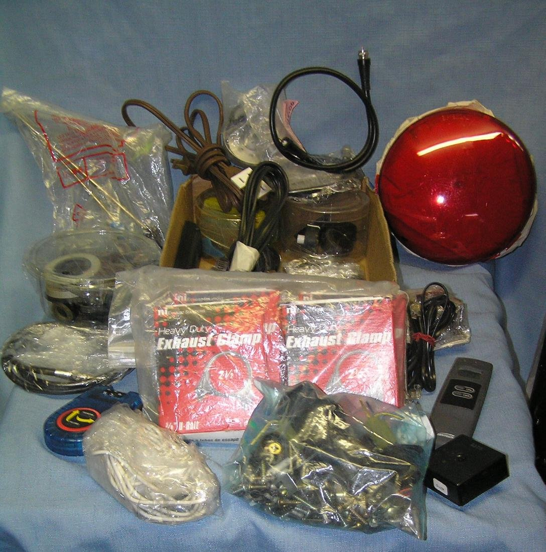 Box full of hardware and automotive supplies