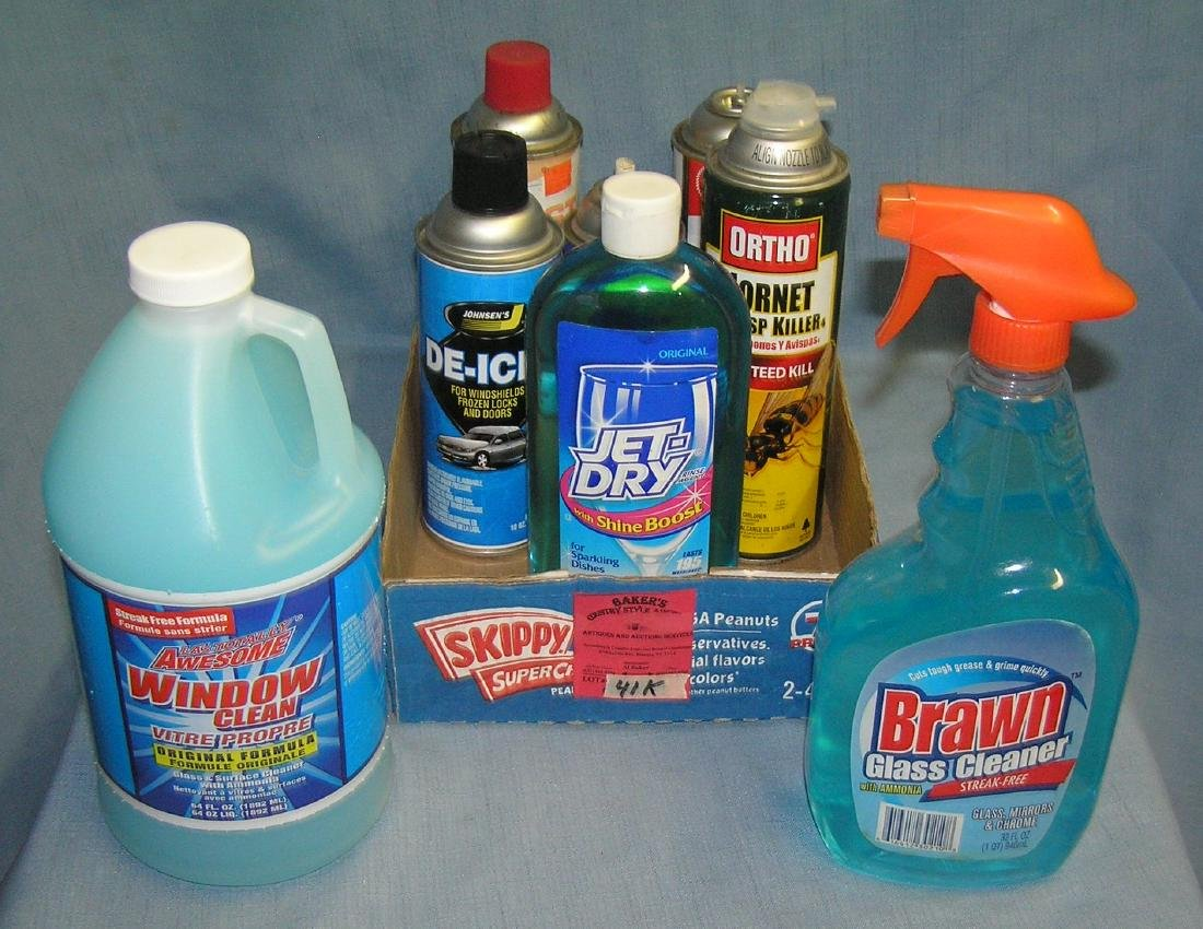 Box full of cleaning and home care supplies
