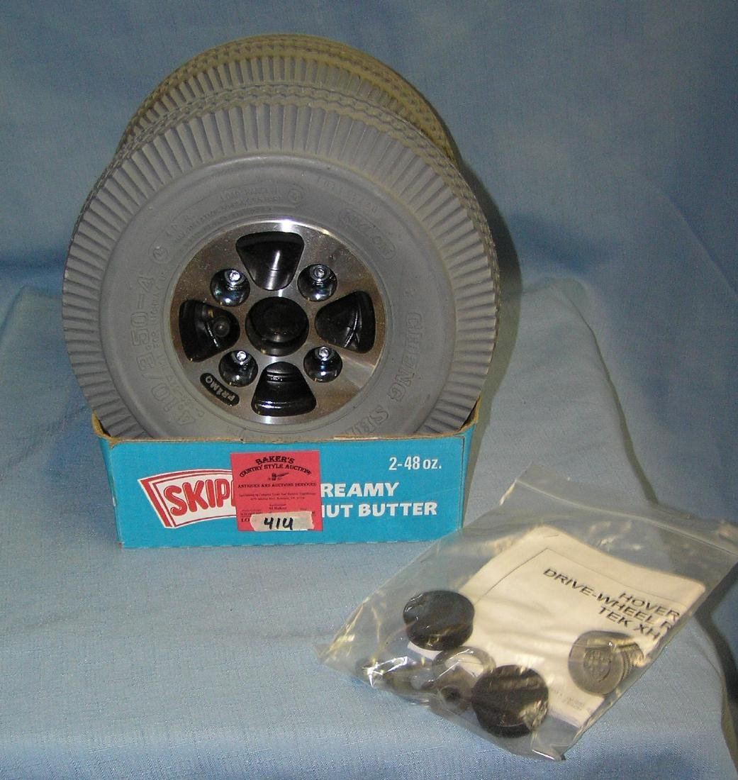 Pair of mobile cart or accessory chrome rims and tires