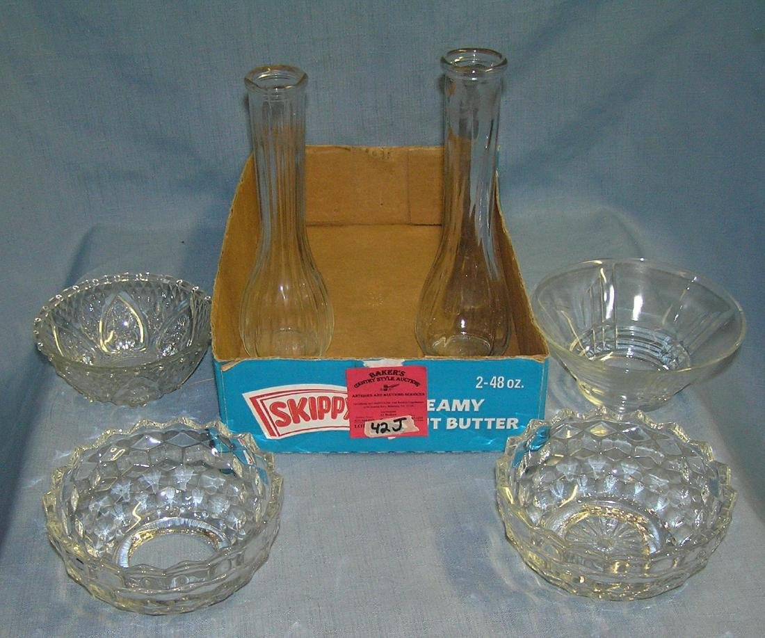 Box full of vintage glass and crystal
