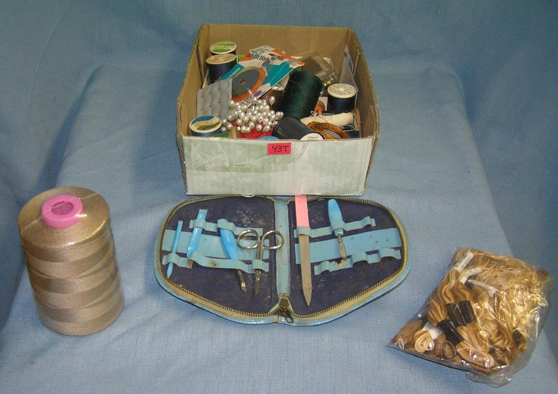 Large box full of sewing collectibles