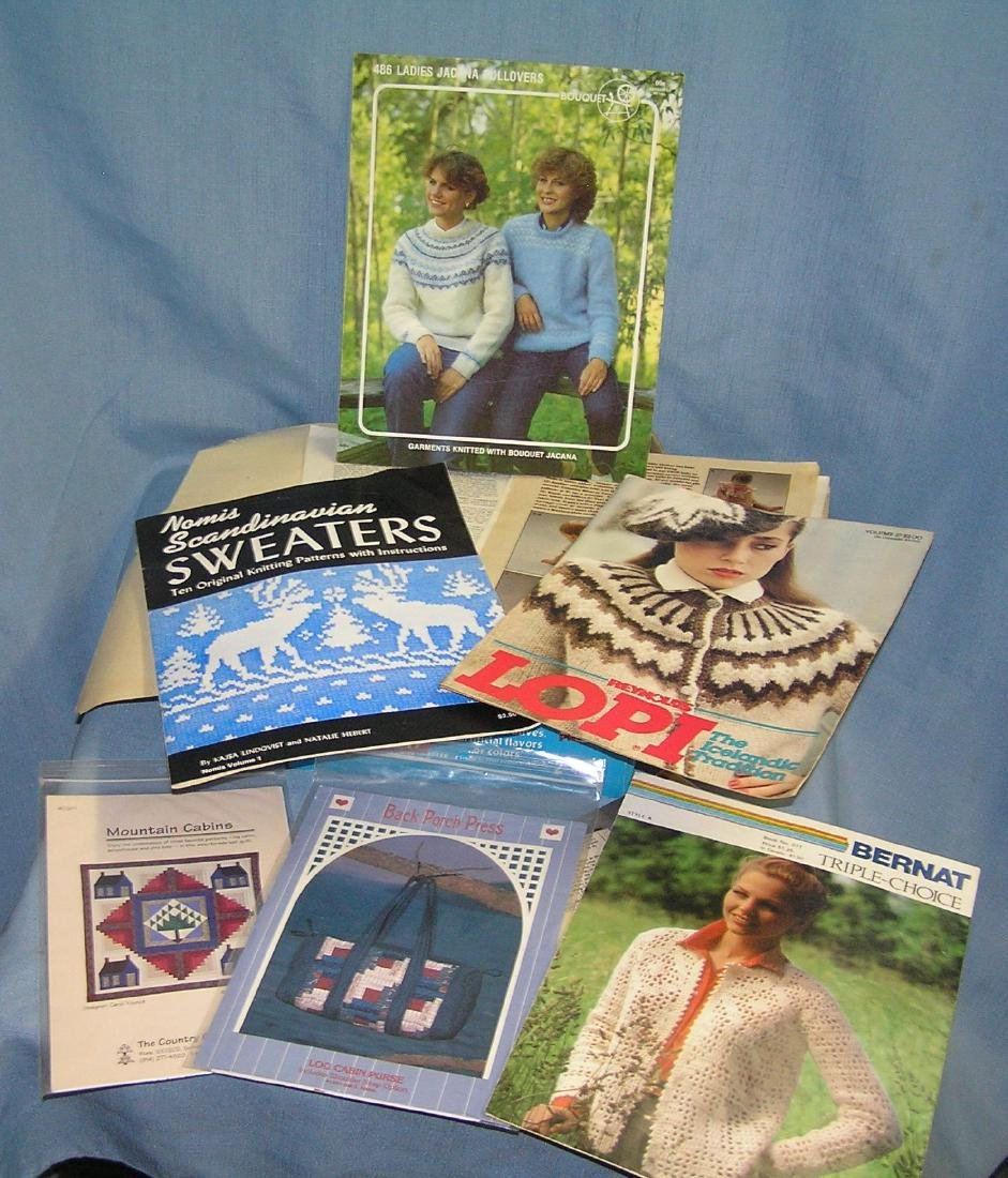 Box full of 7 collectible knitting and crocheting