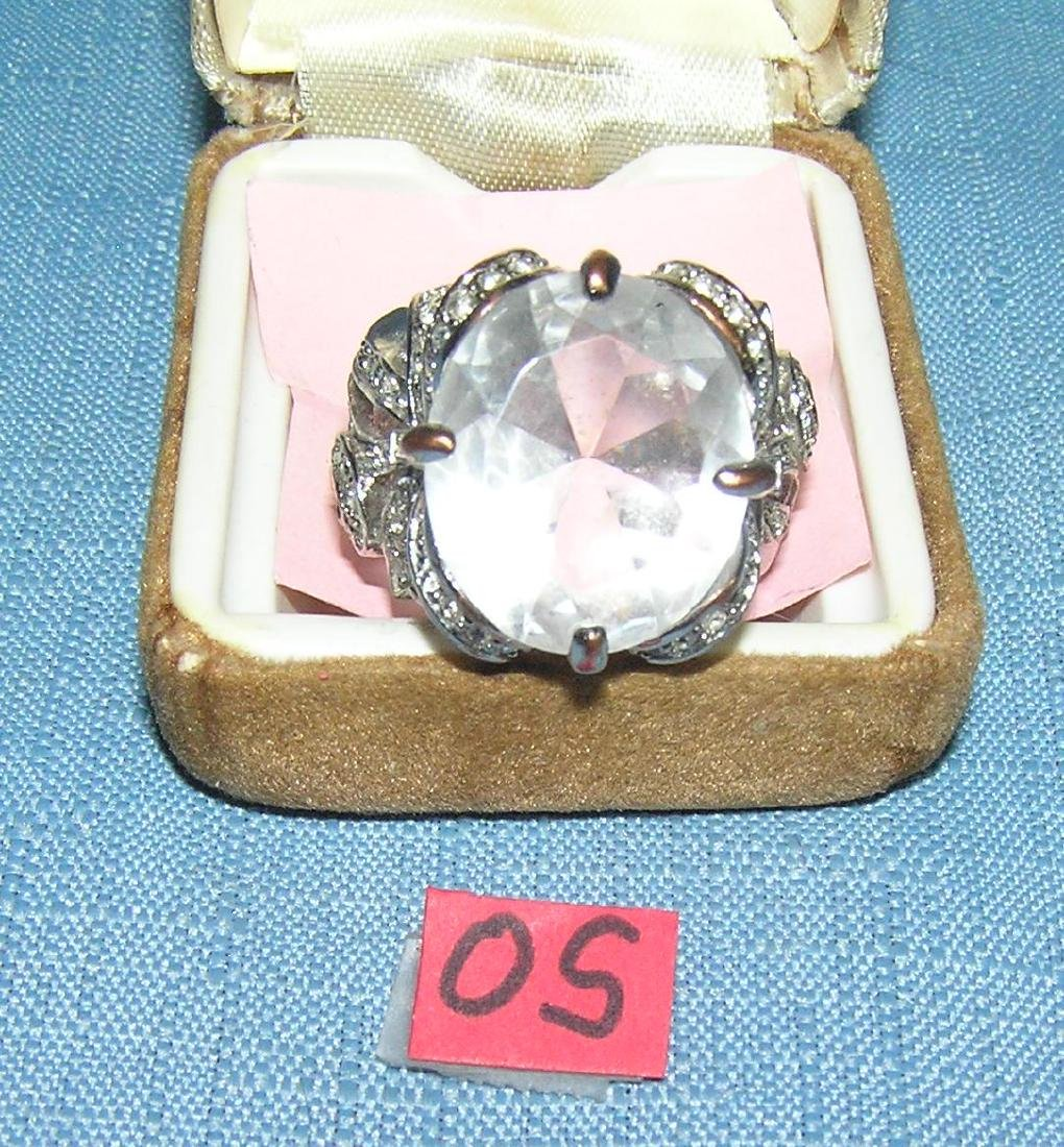 Quality costume jewelry ring with a large clear stone