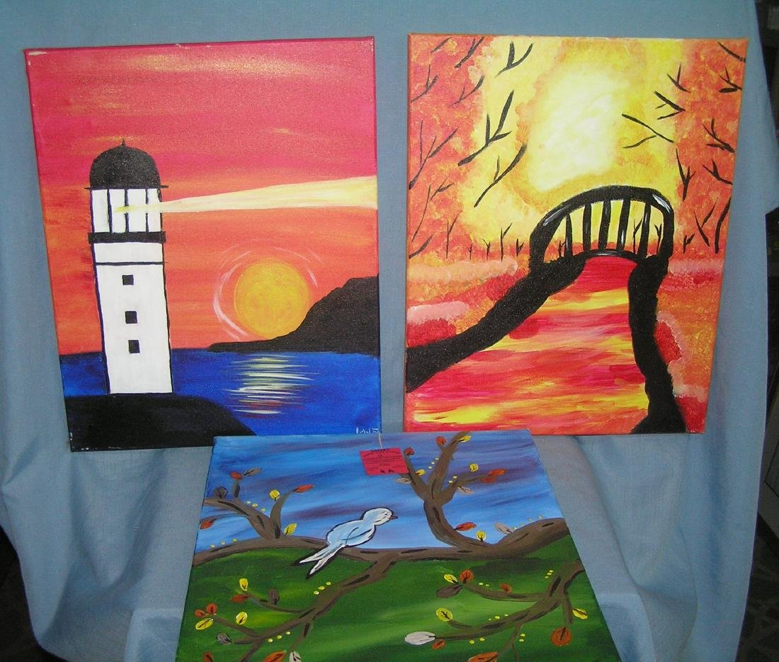 Group of 3 modern oil on canvas paintings