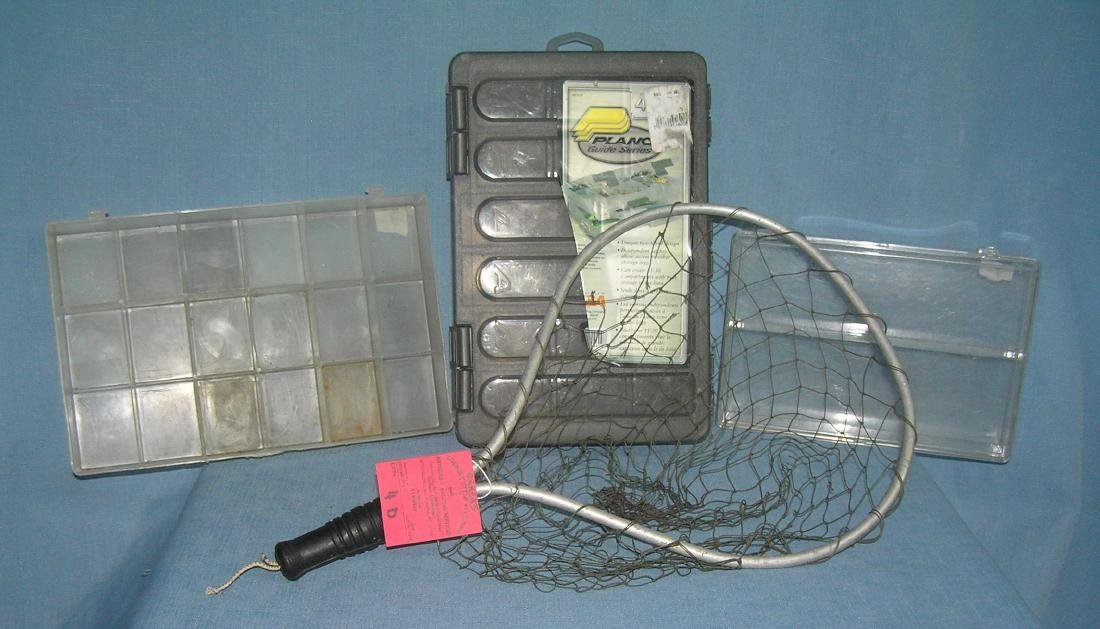 Fishing net and 3 tackle storage containers