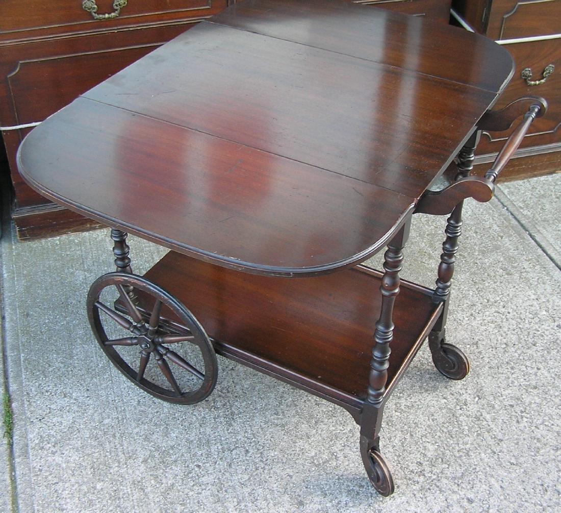 Antique dark walnut tea cart - 2