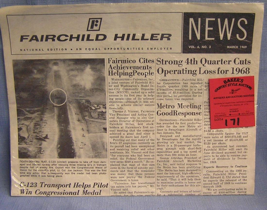 Vintage Fairchild aviation newspaper