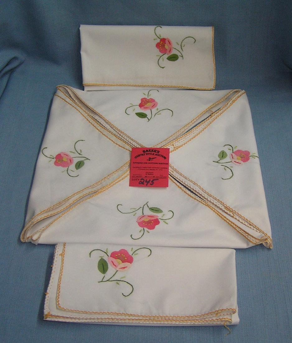 Set of 6 hand stitched floral napkins