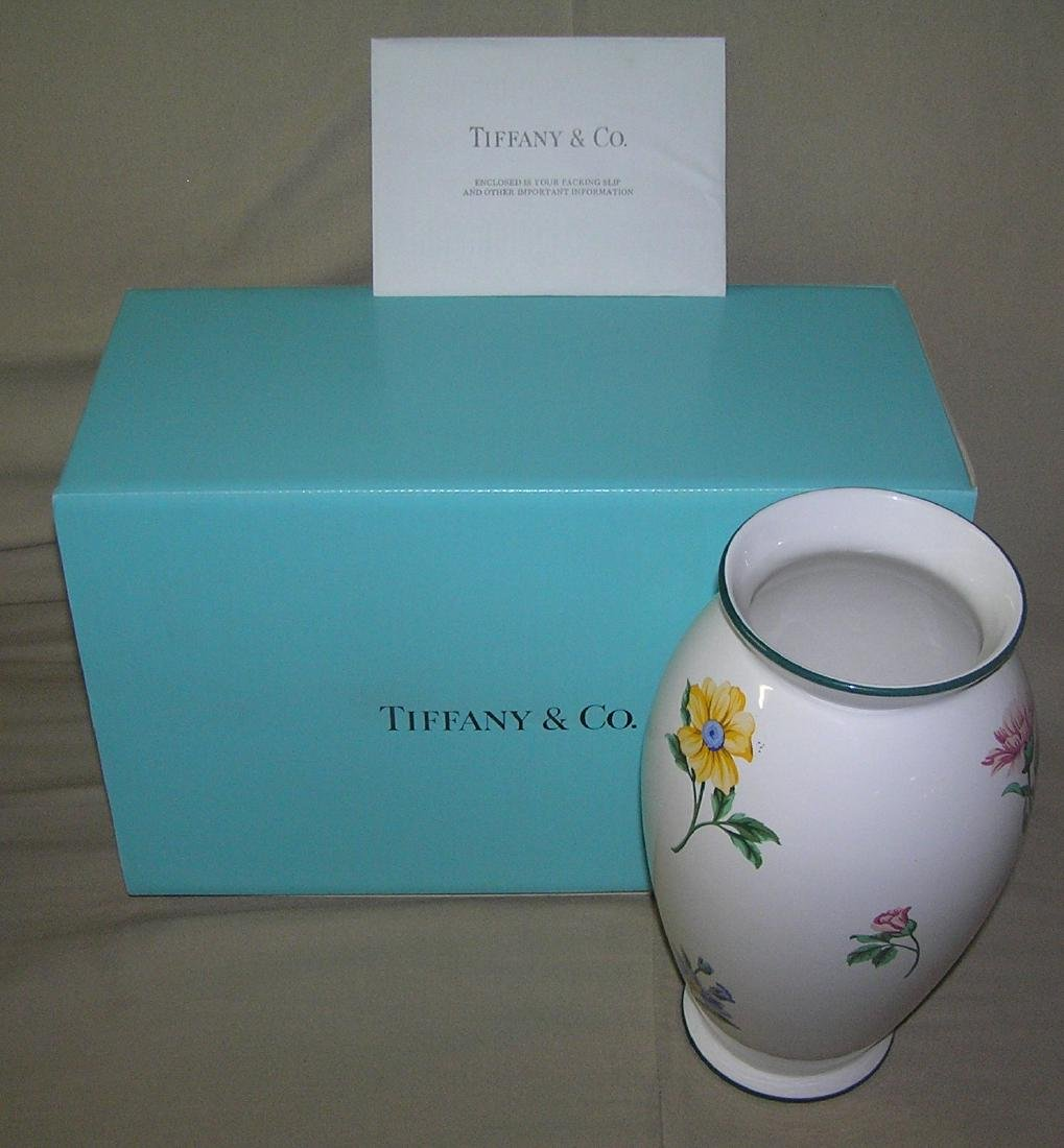 Signed Tiffany hand painted floral vase