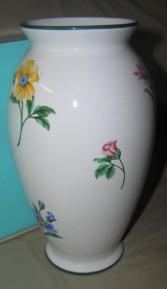 Signed Tiffany hand painted floral vase - 2