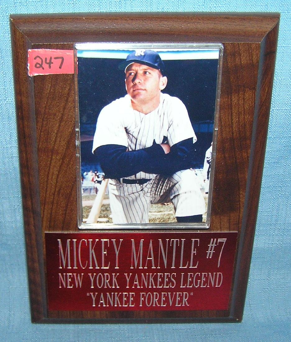 Mickey Mantle baseball card and commemmorative plaque