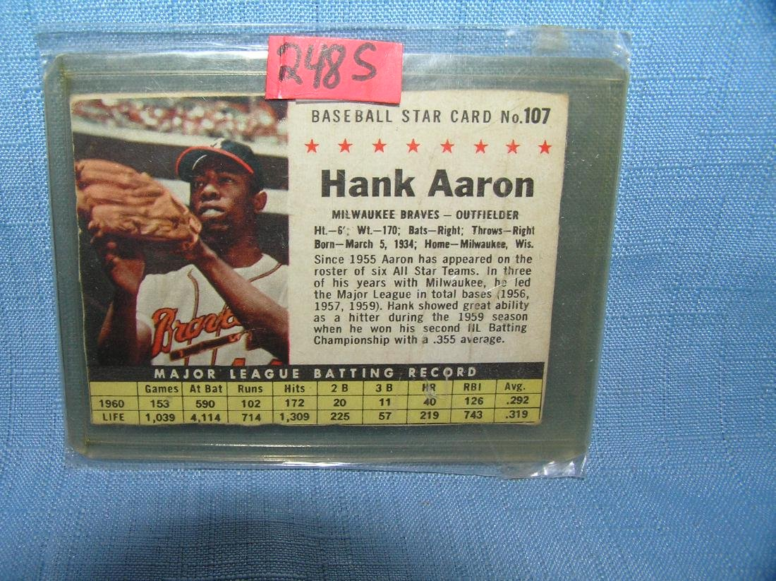 Hank Aaron Post Cereal 1960's all star baseball card