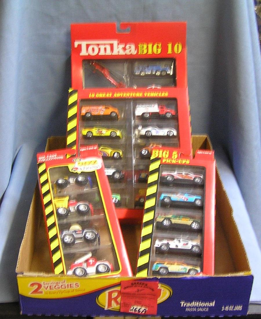 Box full of vintage Tonka cars and trucks