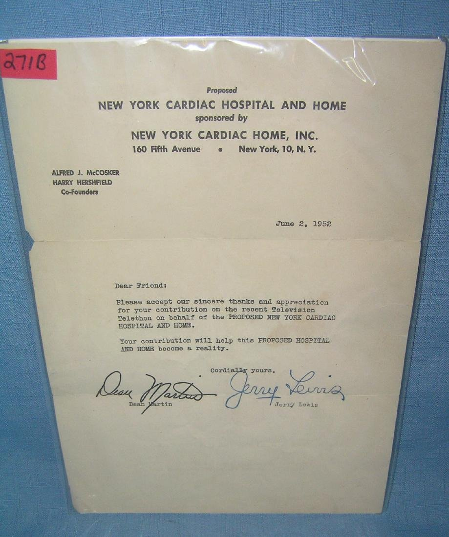 Autographed Dean Martin and Jerry Lewis thank you