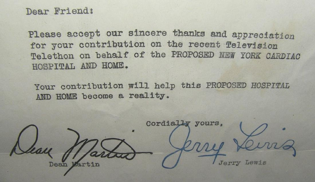 Autographed Dean Martin and Jerry Lewis thank you - 2